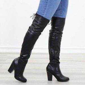 Restock Faux Leather Thigh High Boots Lace Up Back